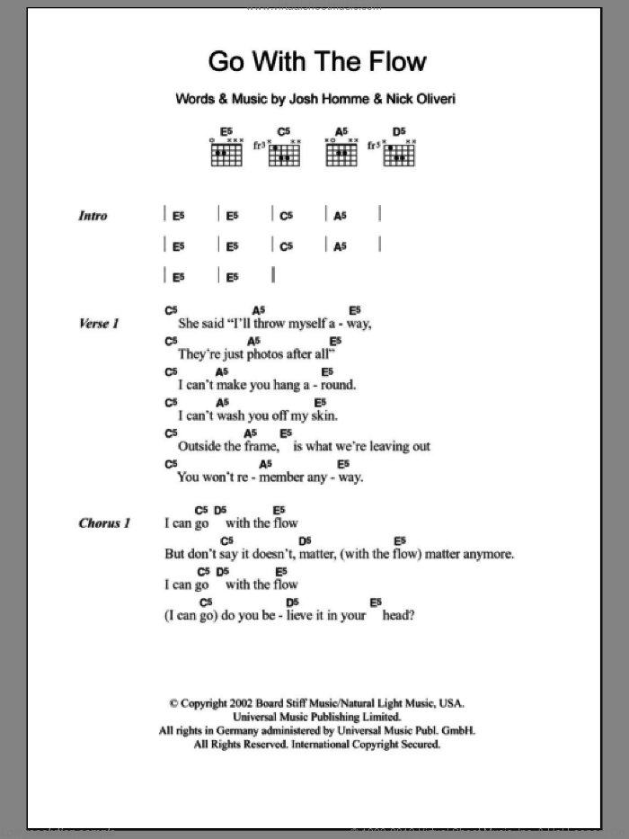 Go With The Flow sheet music for guitar (chords) by Nick Oliveri, Queens Of The Stone Age and Josh Homme. Score Image Preview.