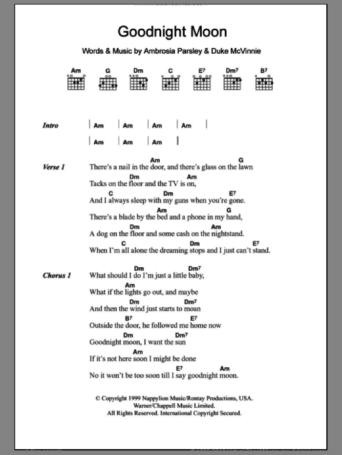 Goodnight Moon sheet music for guitar (chords) by Shivaree, intermediate. Score Image Preview.