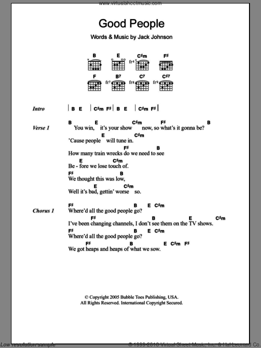 Good People sheet music for guitar (chords) by Jack Johnson