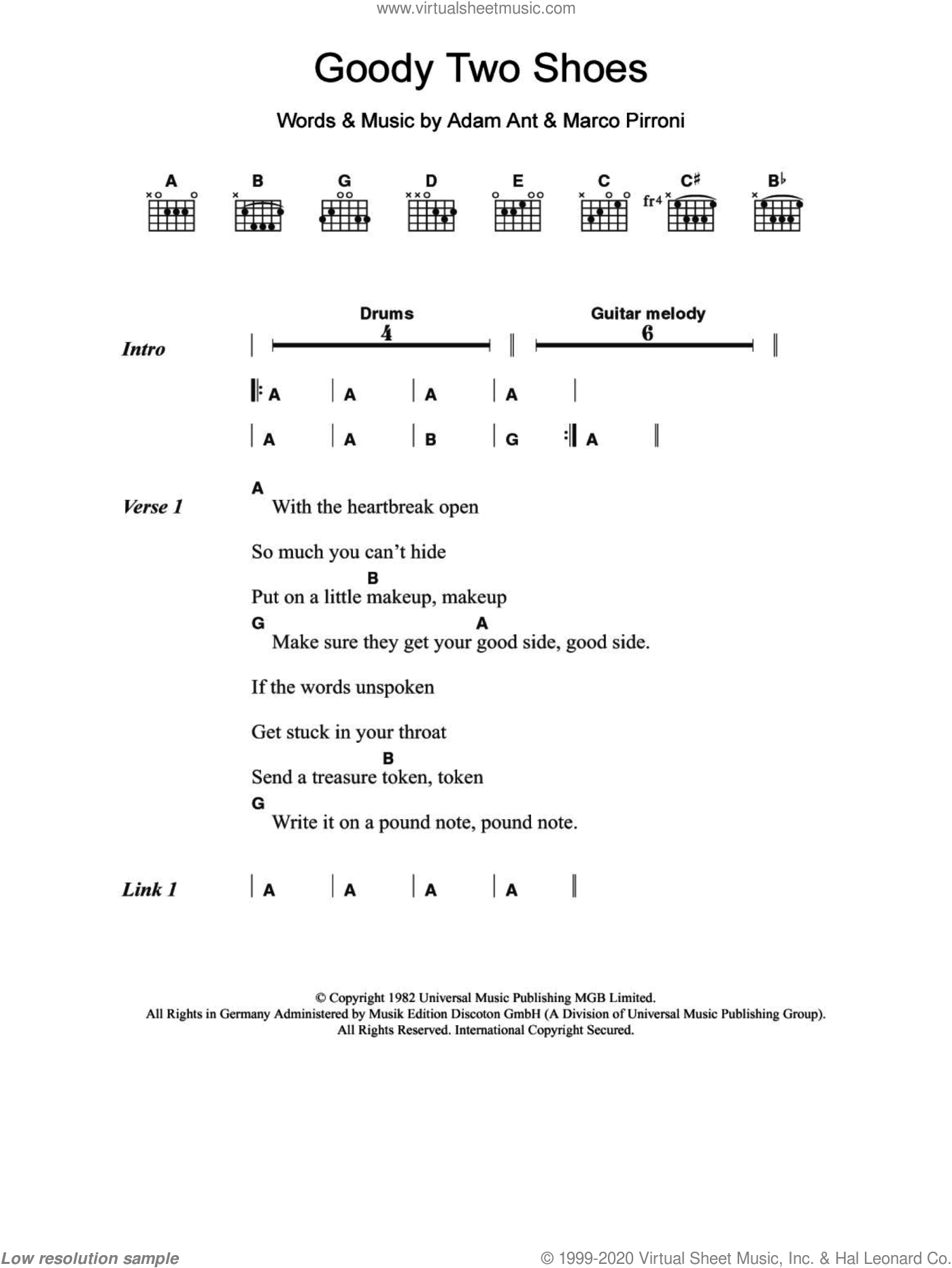 Goody Two Shoes sheet music for guitar (chords) by Marco Pirroni and Adam Ant