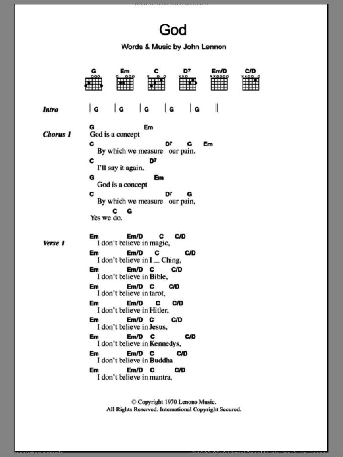 God sheet music for guitar (chords) by John Lennon. Score Image Preview.