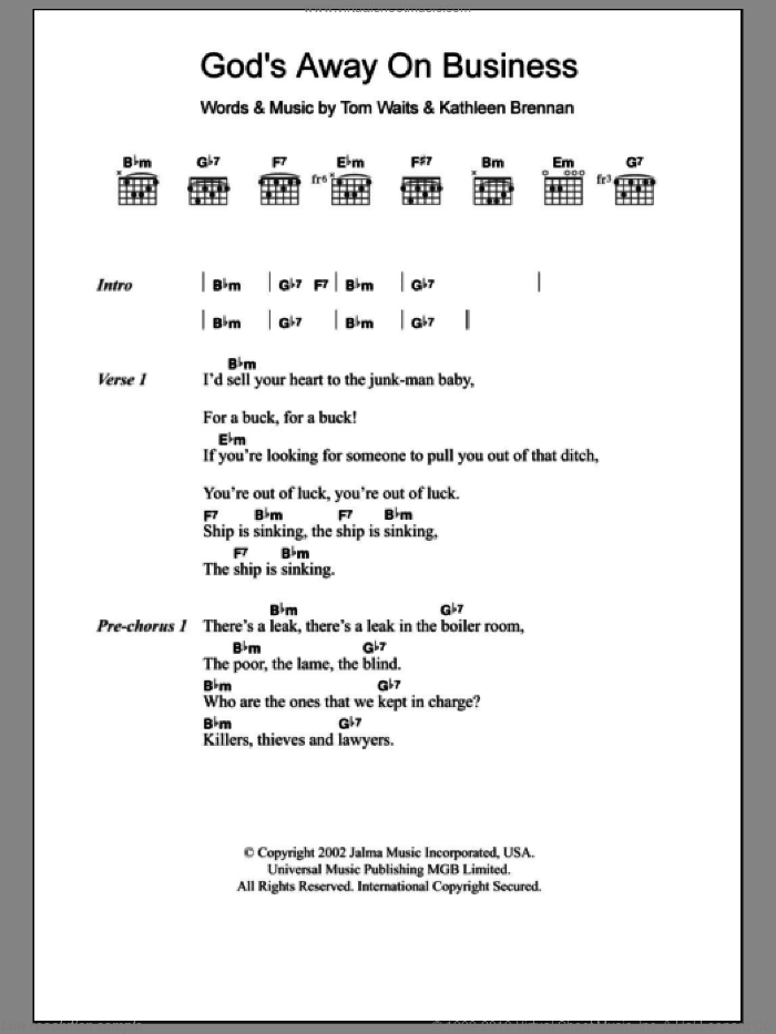 God's Away On Business sheet music for guitar (chords) by Tom Waits and Kathleen Brennan, intermediate