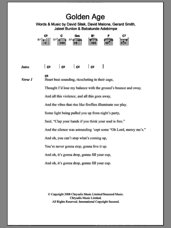 Golden Age sheet music for guitar (chords) by Jaleel Bunton and Gerard Smith. Score Image Preview.