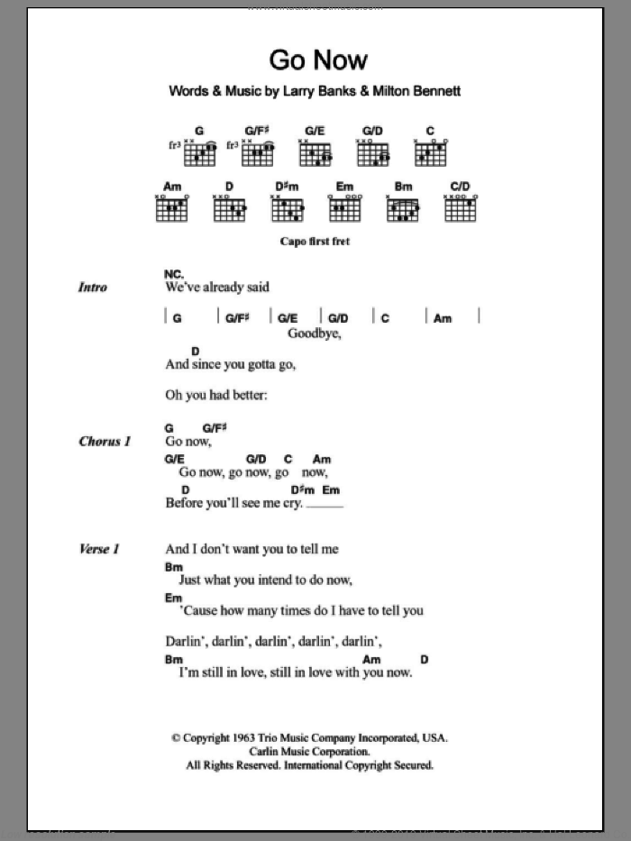 Go Now sheet music for guitar (chords) by Milton Bennett, Bessie Banks, The Moody Blues and Larry Banks