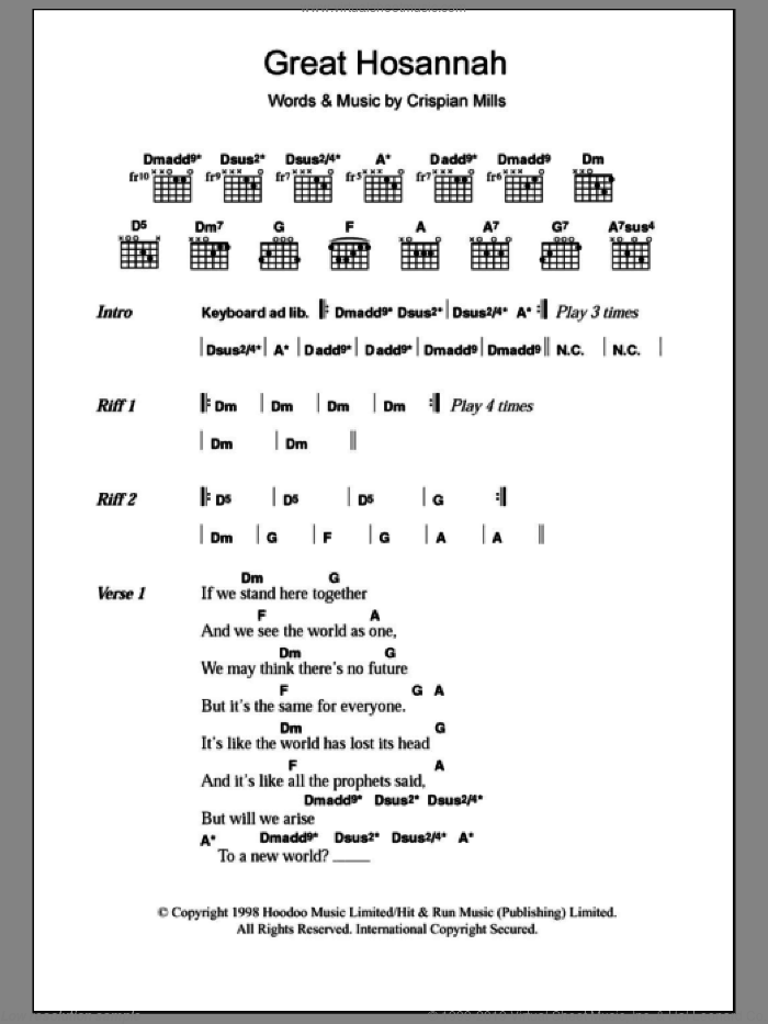 Great Hosannah sheet music for guitar (chords) by Crispian Mills and Kula Shaker. Score Image Preview.