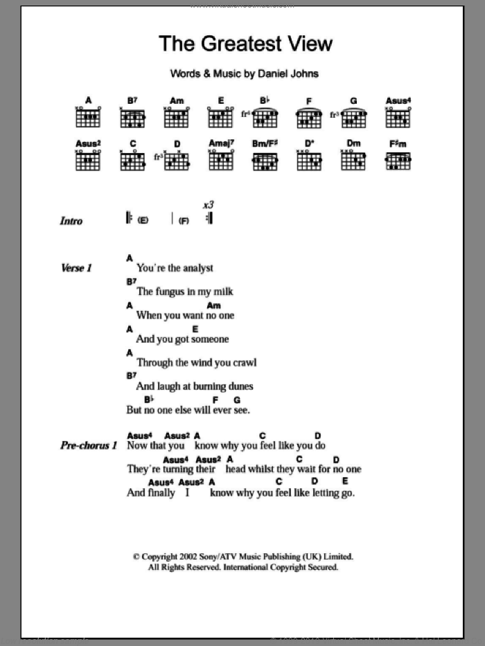 The Greatest View sheet music for guitar (chords) by Daniel Johns. Score Image Preview.