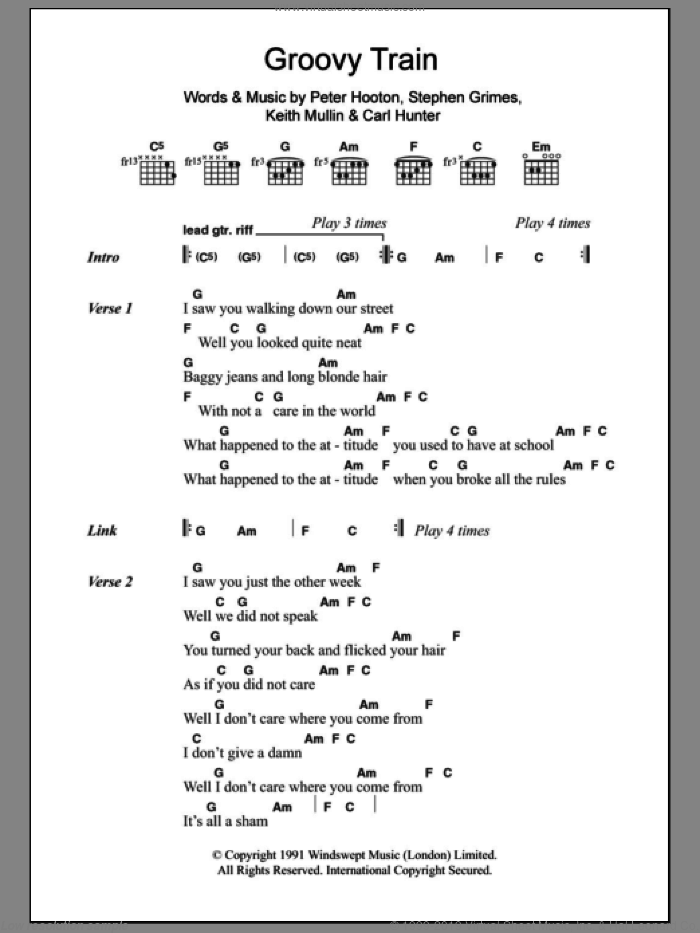 Farm - Groovy Train sheet music for guitar (chords) [PDF]