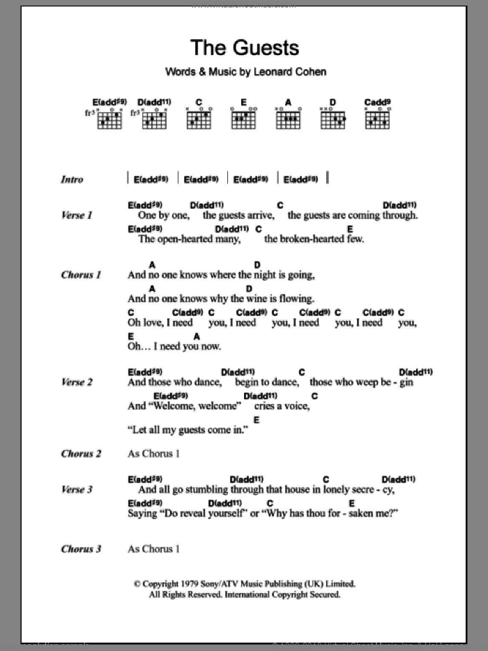 Cohen The Guests Sheet Music For Guitar Chords Pdf