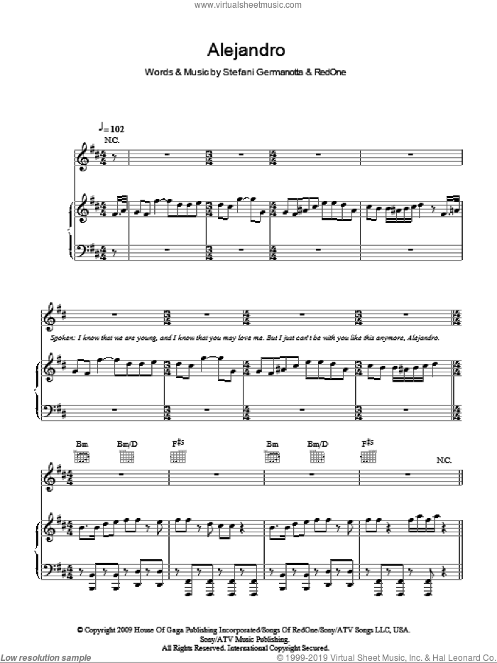Alejandro sheet music for voice, piano or guitar by Lady Gaga and RedOne. Score Image Preview.