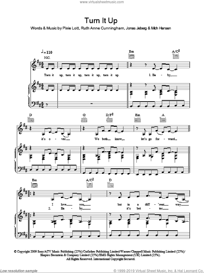 Turn It Up sheet music for voice, piano or guitar by Ruth Anne Cunningham, Jonas Jeberg, Mich Hansen and Pixie Lott. Score Image Preview.