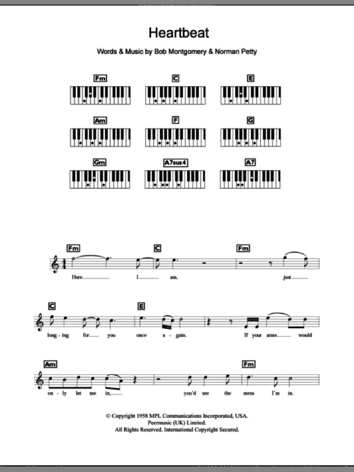 Heartbeat sheet music for piano solo (chords, lyrics, melody) by Buddy Holly, intermediate piano (chords, lyrics, melody). Score Image Preview.