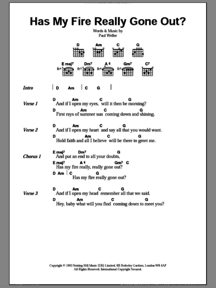 Has My Fire Really Gone Out? sheet music for guitar (chords) by Paul Weller. Score Image Preview.