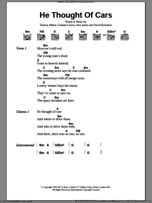He Thought Of Cars sheet music for guitar (chords) by Graham Coxon