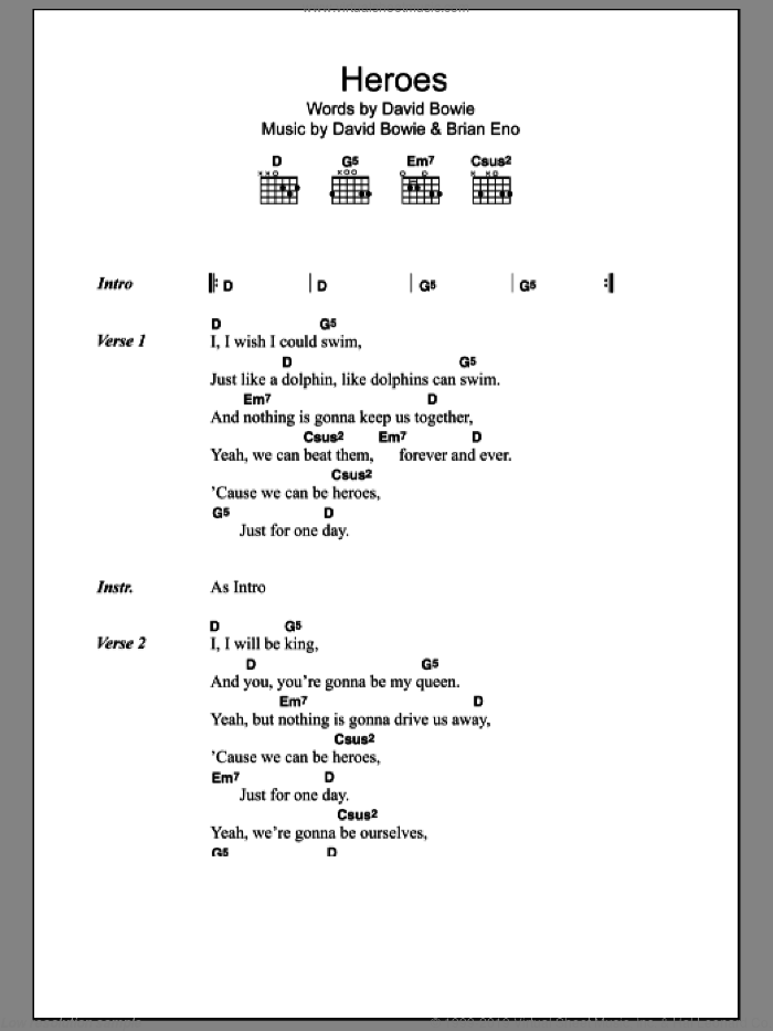 Heroes sheet music for guitar (chords) by Oasis, David Bowie and Brian Eno. Score Image Preview.
