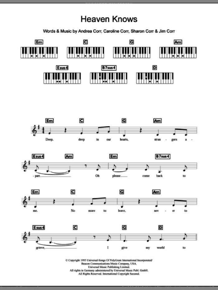 Corrs Heaven Knows Sheet Music For Piano Solo Chords Lyrics Melody