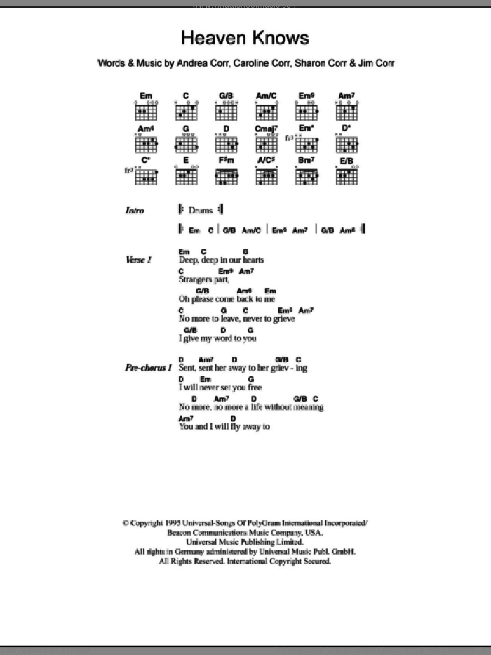 Heaven Knows sheet music for guitar (chords) by The Corrs, Andrea Corr, Caroline Corr, Jim Corr and Sharon Corr, intermediate