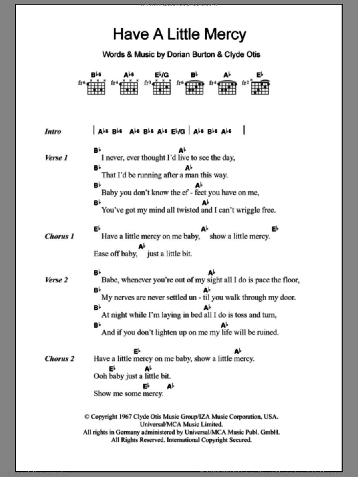 Have A Little Mercy sheet music for guitar (chords) by Jean Wells, Clyde Otis and Dorian Burton, intermediate skill level