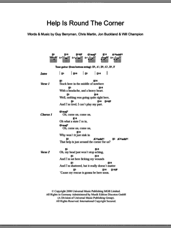 Help Is Round The Corner sheet music for guitar (chords) by Coldplay, Chris Martin, Guy Berryman, Jon Buckland and Will Champion, intermediate skill level