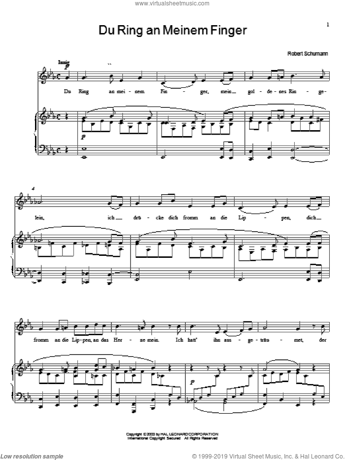 Du Ring An Meinem Finger sheet music for voice, piano or guitar by Robert Schumann, classical wedding score, intermediate skill level