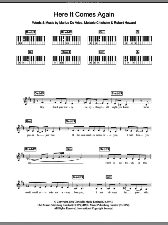 Here It Comes Again sheet music for piano solo (chords, lyrics, melody) by Marius De Vries, Chisholm Melanie, Melanie Chisholm and Robert Howard, intermediate piano (chords, lyrics, melody)