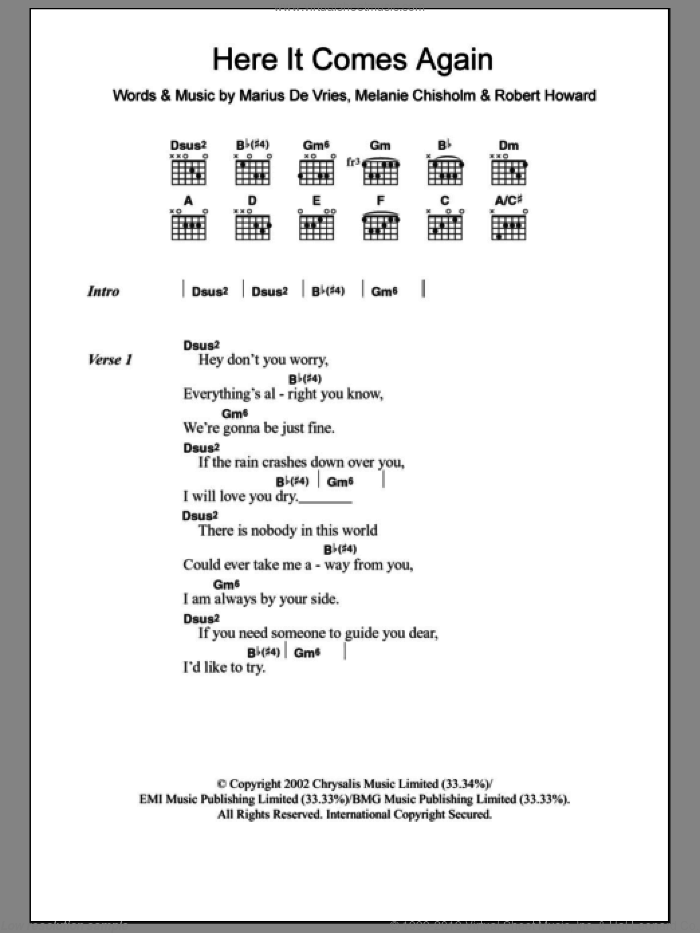 Here It Comes Again sheet music for guitar (chords) by Marius De Vries, Chisholm Melanie, Melanie Chisholm and Robert Howard, intermediate skill level