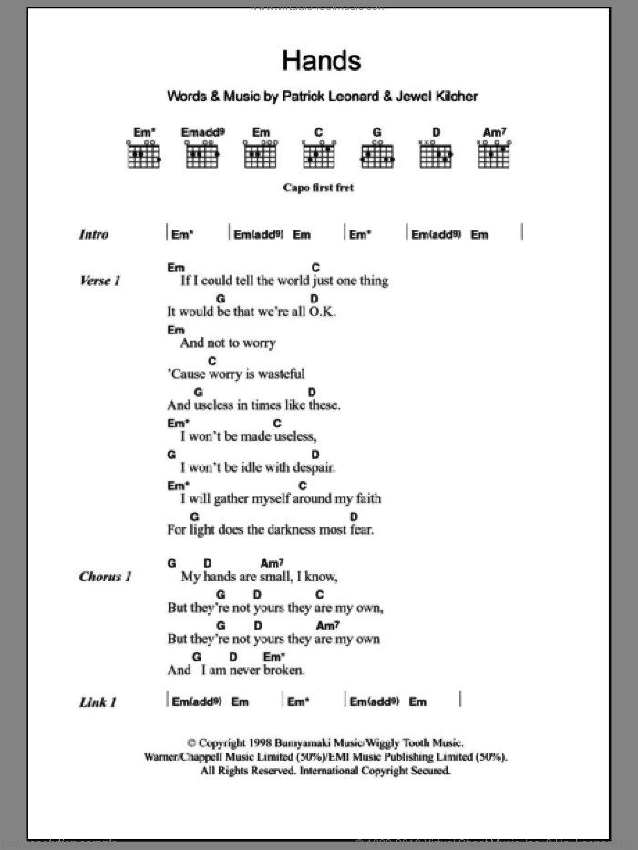 Hands sheet music for guitar (chords) by Patrick Leonard, Jewel and Jewel Kilcher. Score Image Preview.