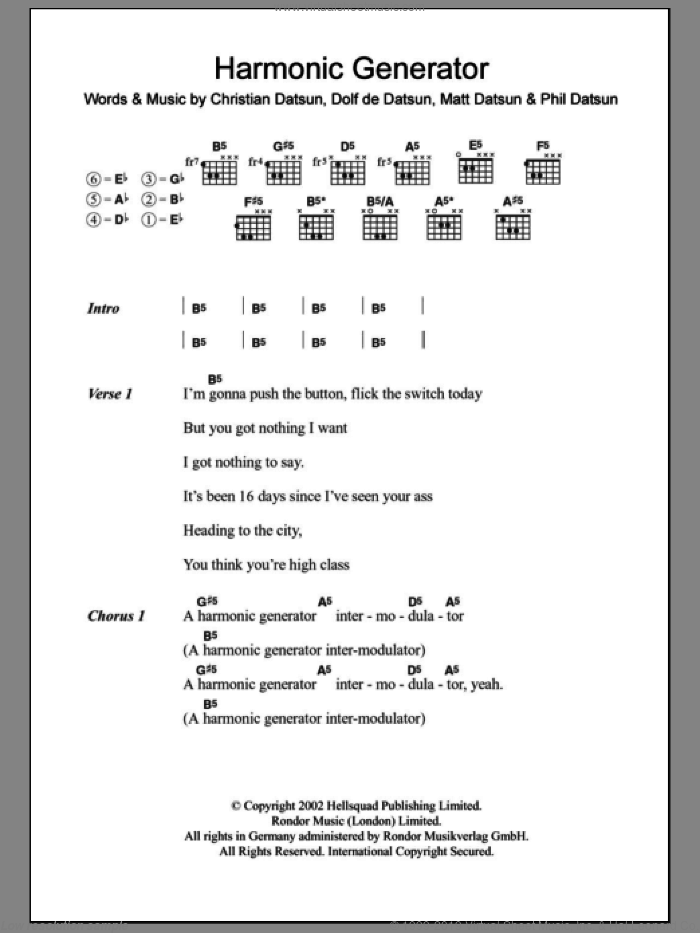 Harmonic Generator sheet music for guitar (chords) by The Datsuns, intermediate guitar (chords). Score Image Preview.