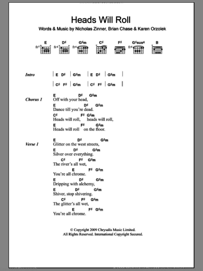 Heads Will Roll sheet music for guitar (chords) by Yeah Yeah Yeahs, Brian Chase, Karen Orzolek and Nick Zinner, intermediate skill level