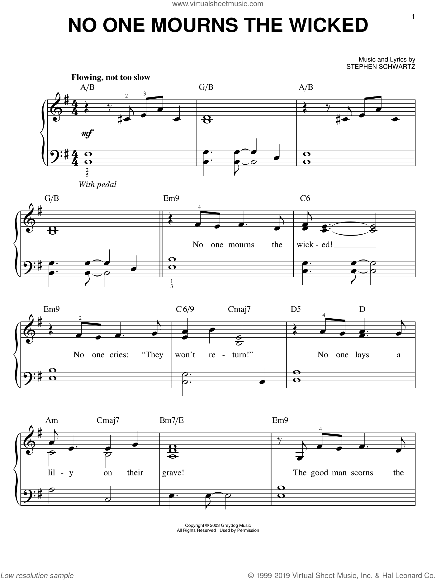 No One Mourns The Wicked sheet music for piano solo by Stephen Schwartz, easy. Score Image Preview.