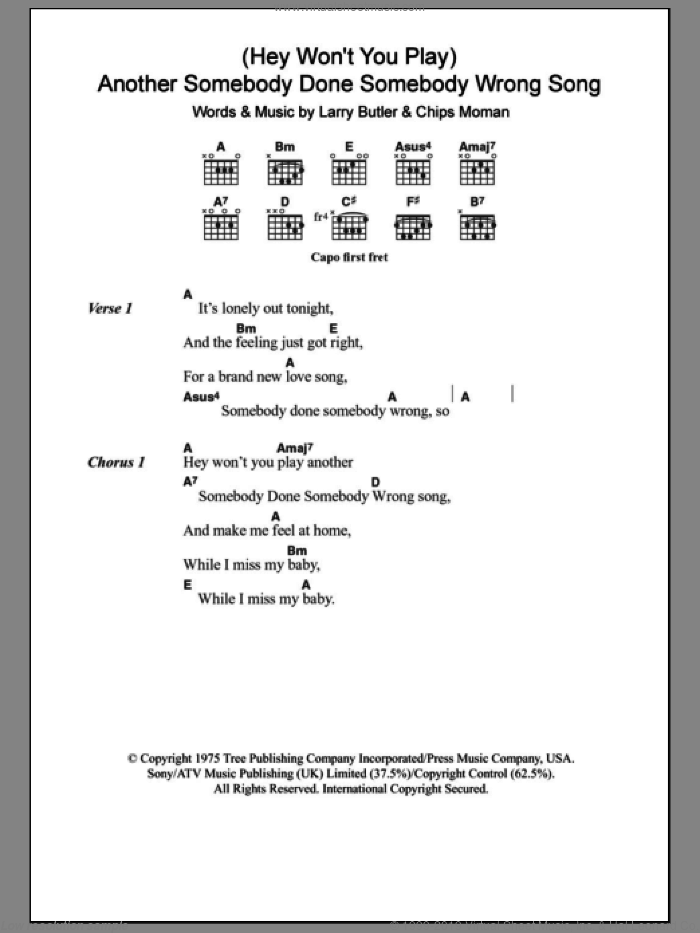 (Hey, Won't You Play) Another Somebody Done Somebody Wrong Song sheet music for guitar (chords) by Larry Butler