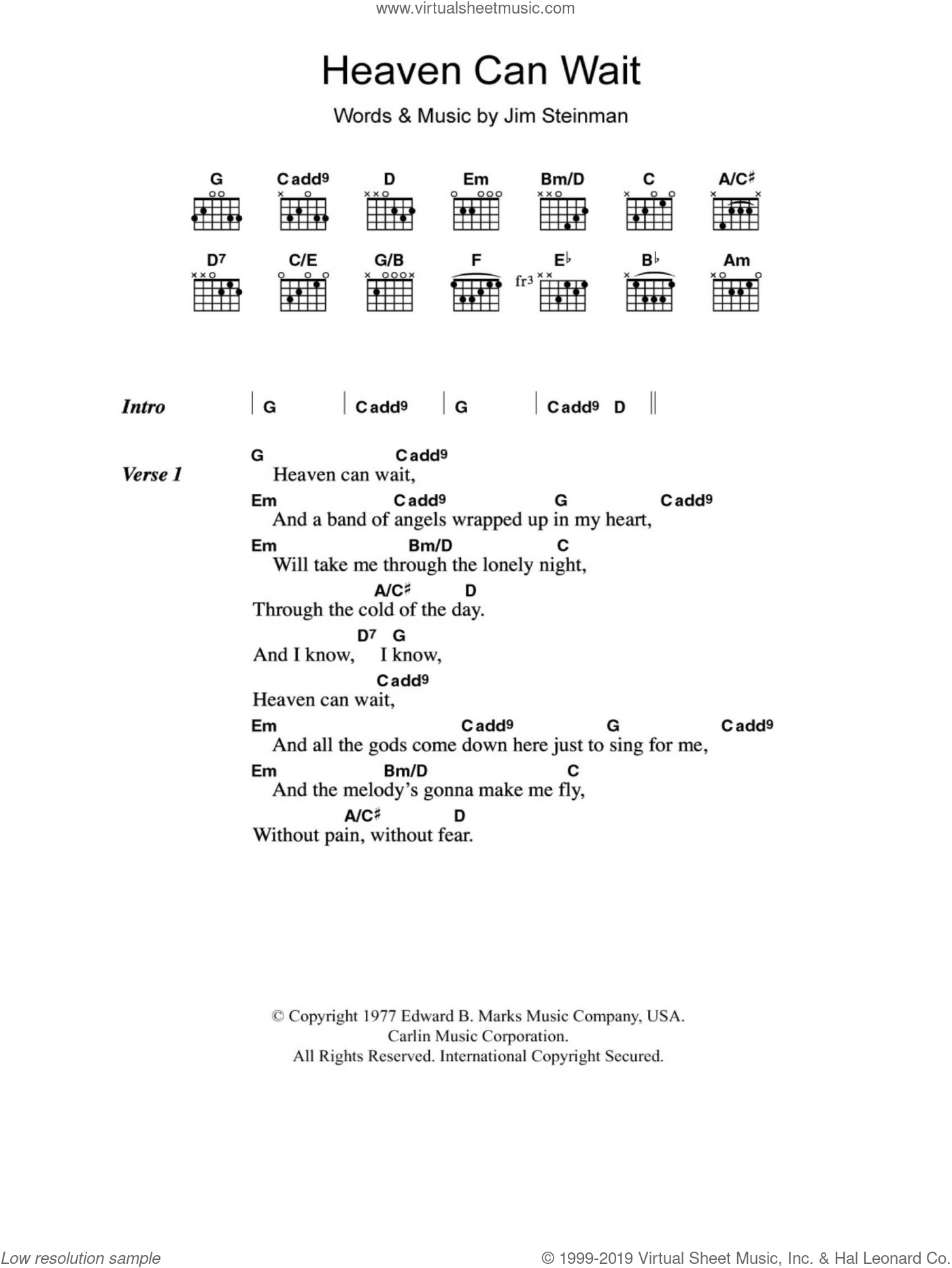 Heaven Can Wait sheet music for guitar (chords) by Jim Steinman. Score Image Preview.