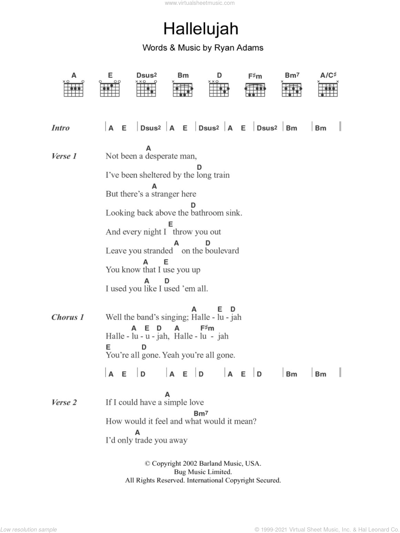 Hallelujah sheet music for guitar (chords) by Ryan Adams
