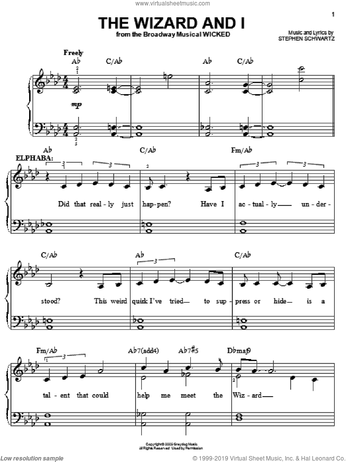 The Wizard And I sheet music for piano solo by Stephen Schwartz. Score Image Preview.