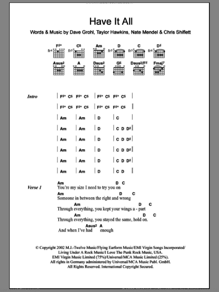 Have It All sheet music for guitar (chords) by Foo Fighters. Score Image Preview.