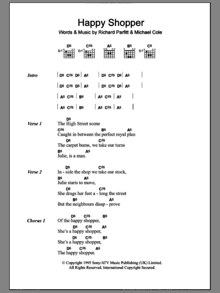 Happy Shopper sheet music for guitar (chords) by Richard Parfitt. Score Image Preview.