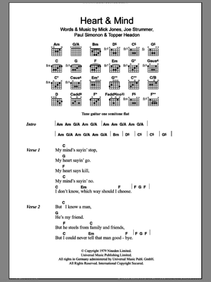 Heart And Mind sheet music for guitar (chords) by Topper Headon, The Clash, Joe Strummer, Mick Jones and Paul Simonon. Score Image Preview.