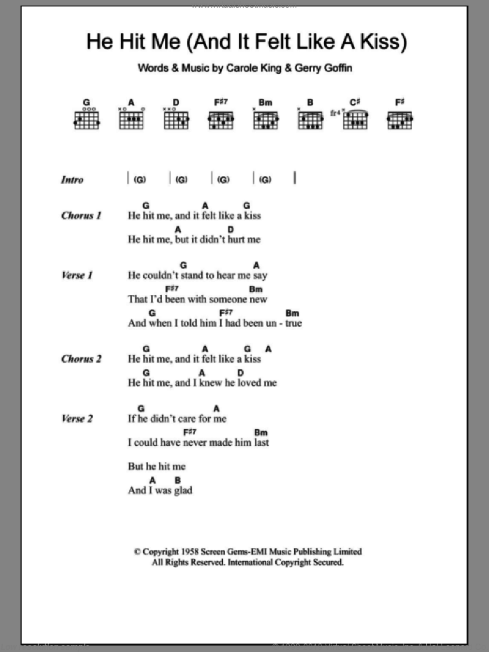 He Hit Me (And It Felt Like A Kiss) sheet music for guitar (chords) by Gerry Goffin, The Crystals and Carole King. Score Image Preview.