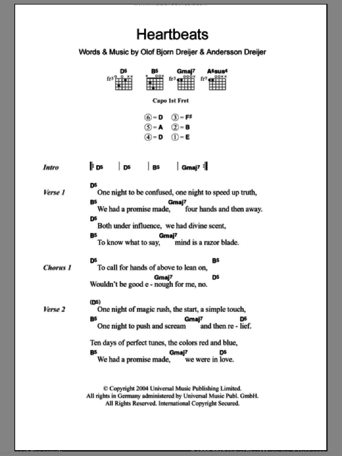 Heartbeats sheet music for guitar (chords) by Olof Bjorn Dreijer, Jose Gonzalez and Andersson Dreijer. Score Image Preview.
