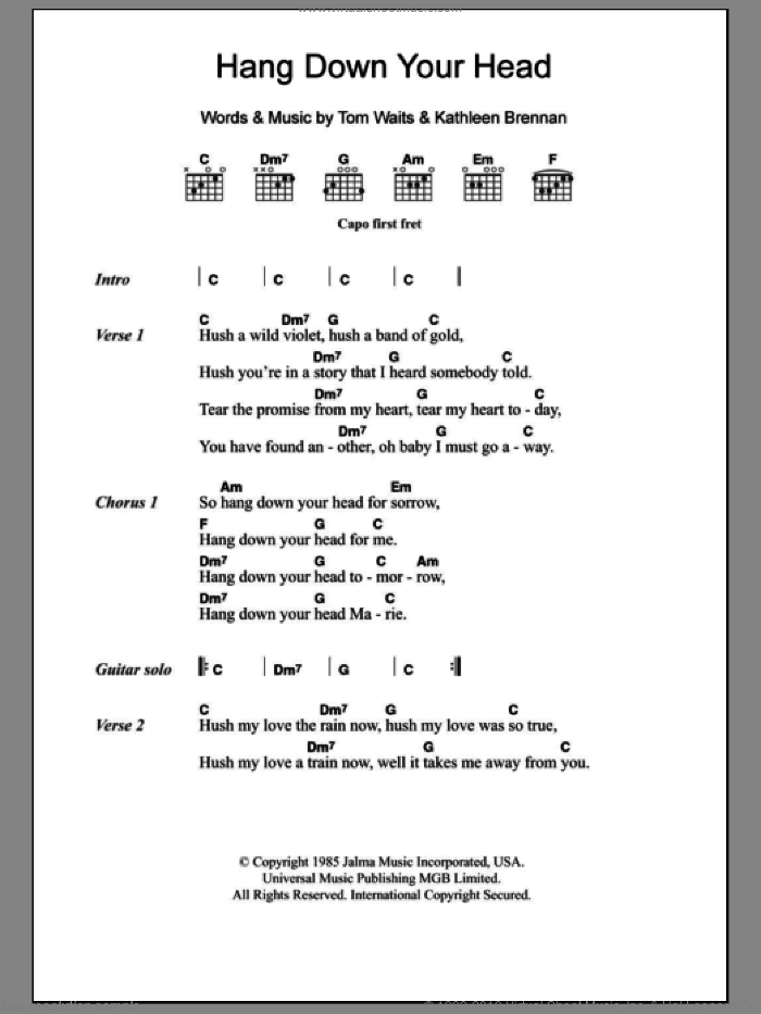 Hang Down Your Head sheet music for guitar (chords) by Kathleen Brennan and Tom Waits. Score Image Preview.