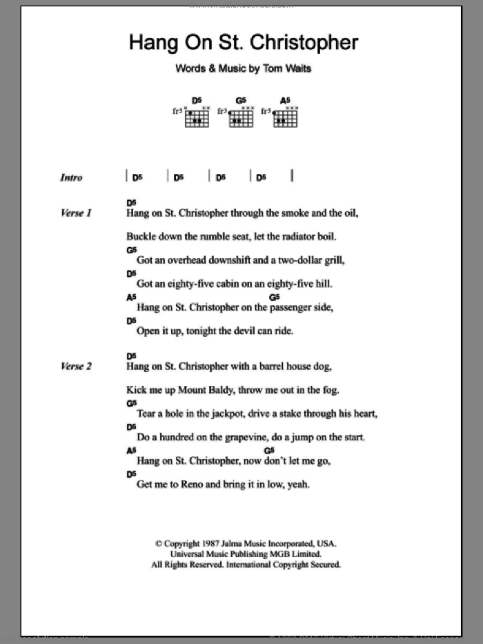 Hang On St. Christopher sheet music for guitar (chords) by Tom Waits, intermediate. Score Image Preview.