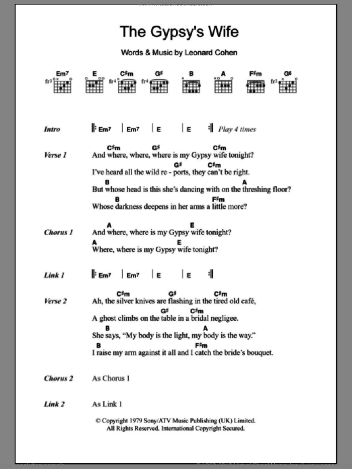 Cohen - The Gypsy\'s Wife sheet music for guitar (chords) [PDF]