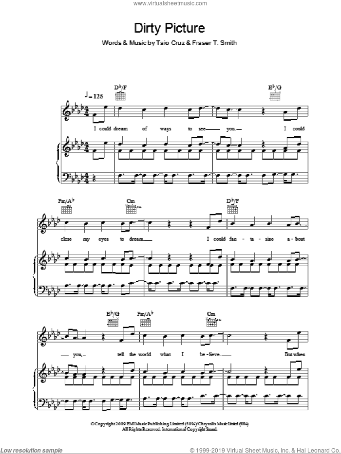 Dirty Picture sheet music for voice, piano or guitar by Fraser T. Smith, Ke$ha and Taio Cruz. Score Image Preview.