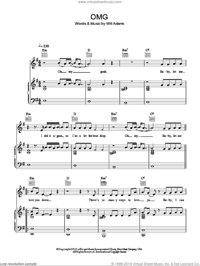 OMG sheet music for voice, piano or guitar by Usher featuring will.i.am, Gary Usher and Will Adams. Score Image Preview.