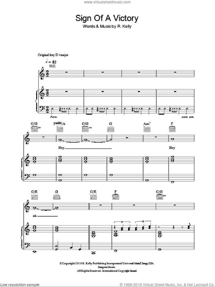 Sign Of A Victory (2010 FIFA World Cup Anthem) sheet music for voice, piano or guitar by R Kelly featuring Soweto Spiritual Singers and Robert Kelly. Score Image Preview.
