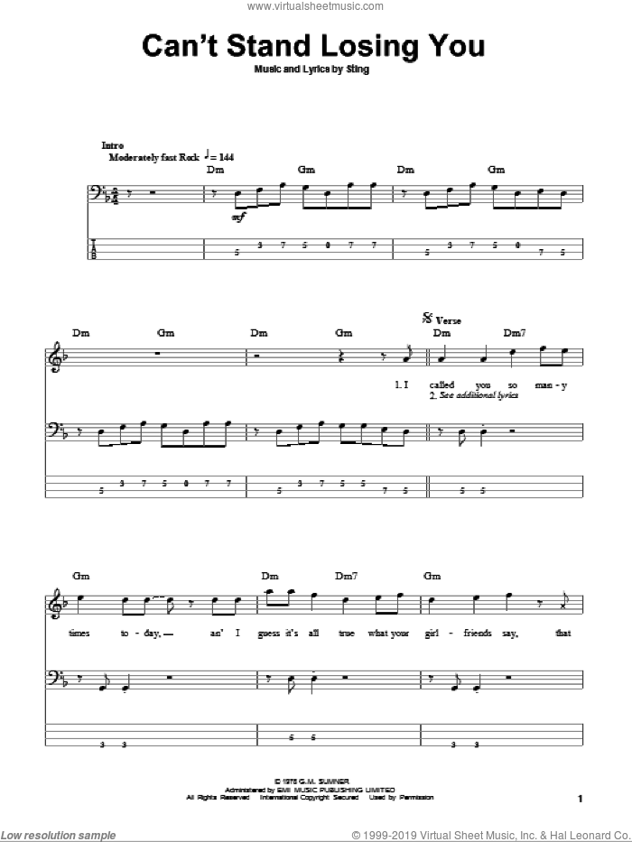Can't Stand Losing You sheet music for bass (tablature) (bass guitar) by The Police and Sting, intermediate bass (tablature) (bass guitar). Score Image Preview.
