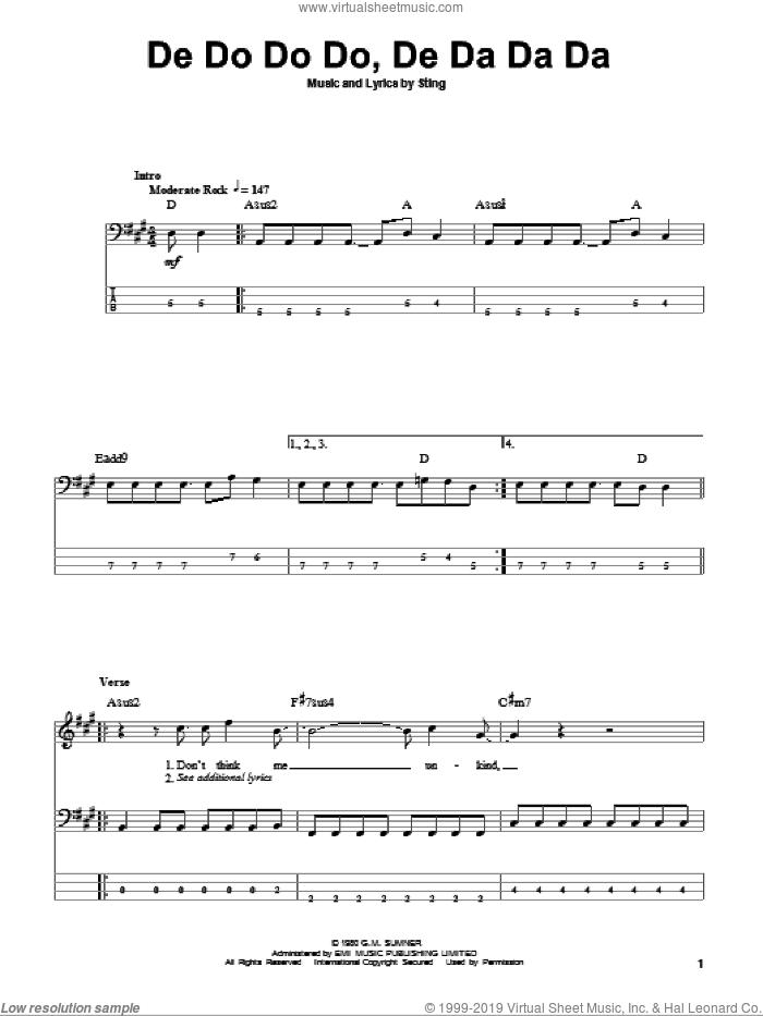 De Do Do Do, De Da Da Da sheet music for bass (tablature) (bass guitar) by The Police and Sting, intermediate