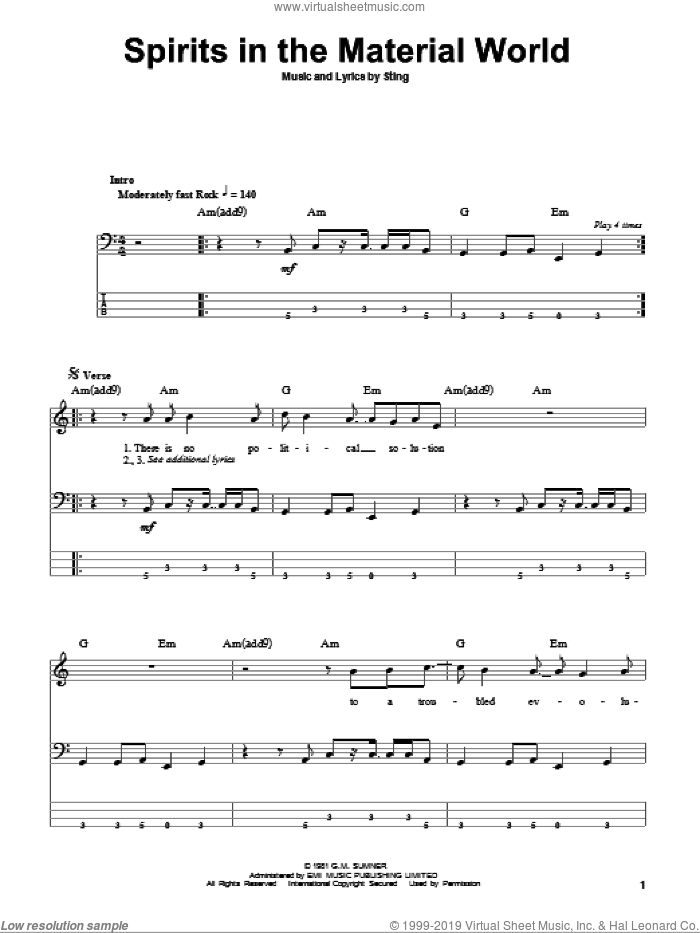 Spirits In The Material World sheet music for bass (tablature) (bass guitar) by The Police and Sting, intermediate