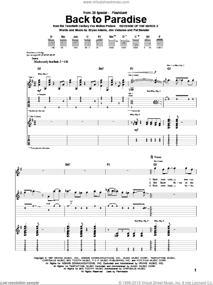 Back To Paradise sheet music for guitar (tablature) by Pat Benatar, Bryan Adams and Jim Vallance. Score Image Preview.