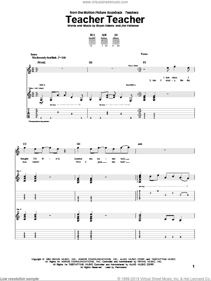 Teacher Teacher sheet music for guitar (tablature) by Jim Vallance and Bryan Adams
