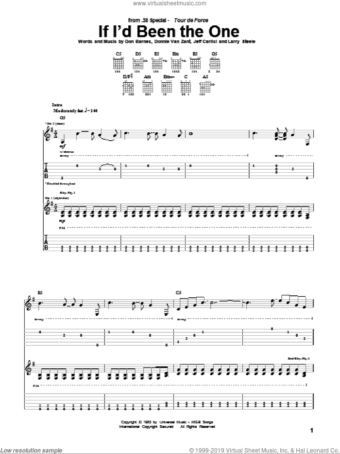If I'd Been The One sheet music for guitar (tablature) by Larry Steele and Jeff Carlisi